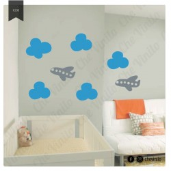 Vinilo Avion y Nubes
