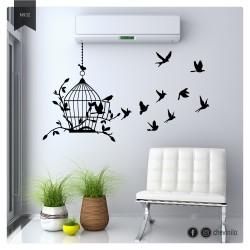 Vinilo pájaros y jaula